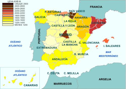 Недвижимость в испании по карте